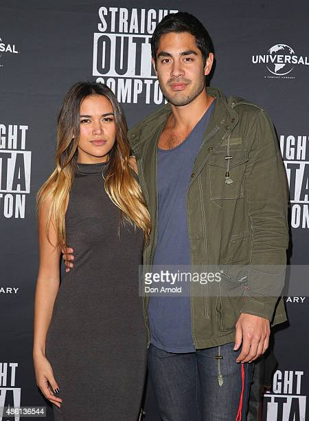 Fely Irvine and Tai Hara arrive ahead of the 'Straight Outta Compton' Australian Premiere on September 1 2015 in Sydney Australia