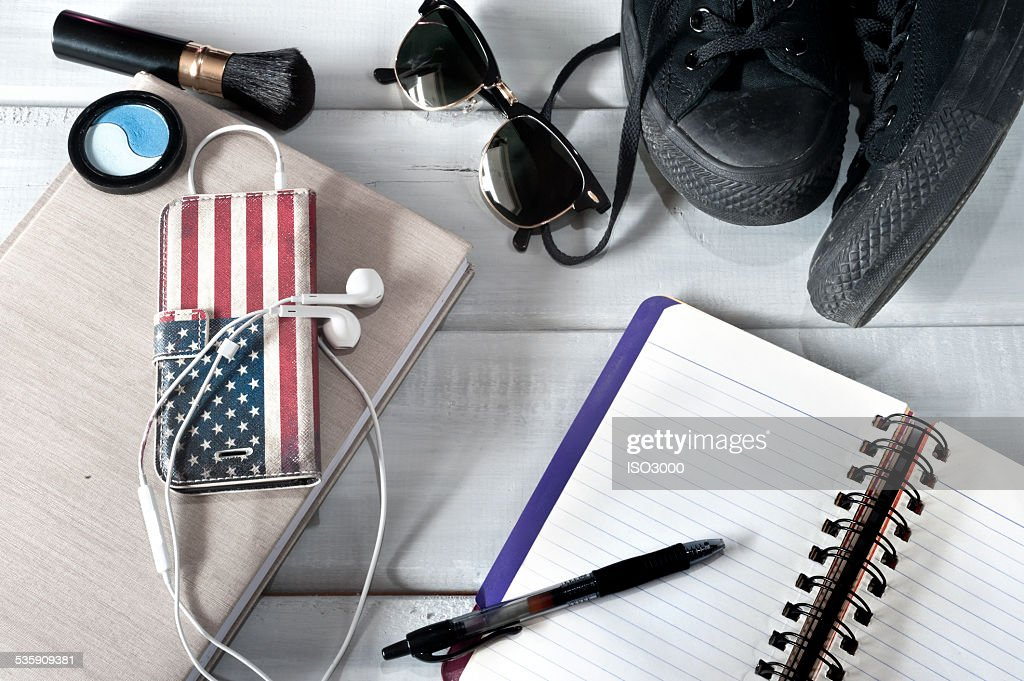 Female accessories and notebook : Stock Photo