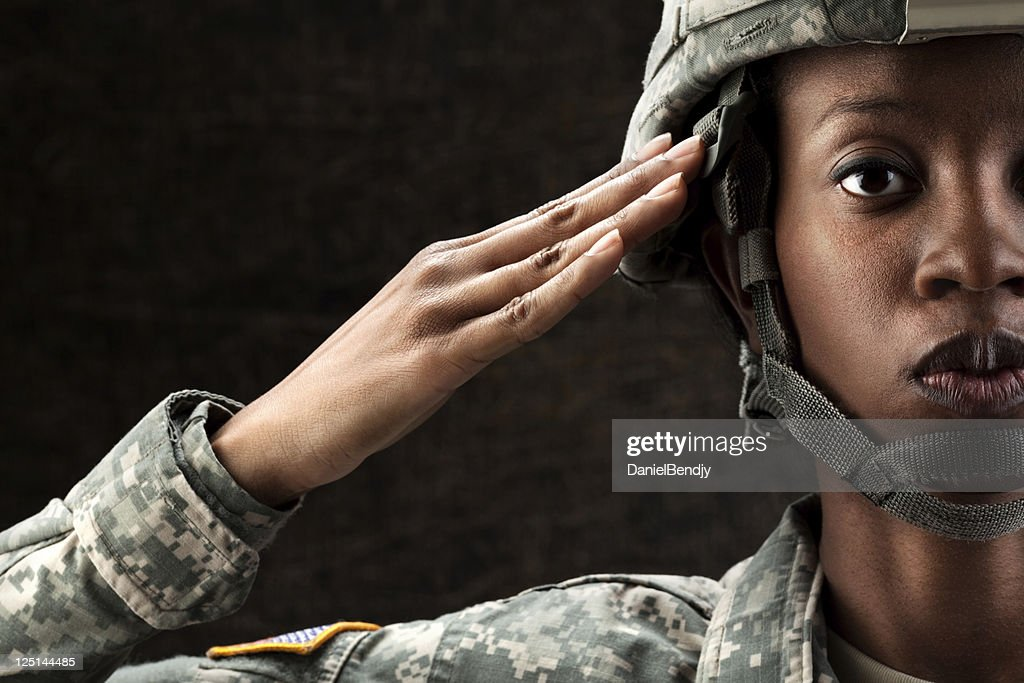 Female African American Soldier Series: Against Dark Brown Background : Stock Photo