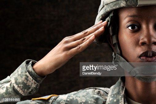 Female African American Soldier Series: Against Dark Brown Background : Stock Photo