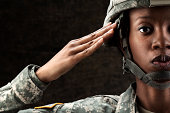 Female African American Soldier Series: Against Dark Brown Background