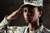 Female African American Soldier Series: Against Dark Brown Backg
