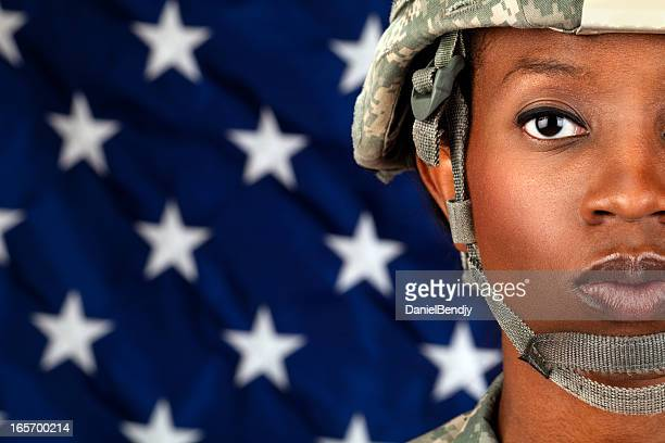 Female African American Soldier Series: Close Up Portrait