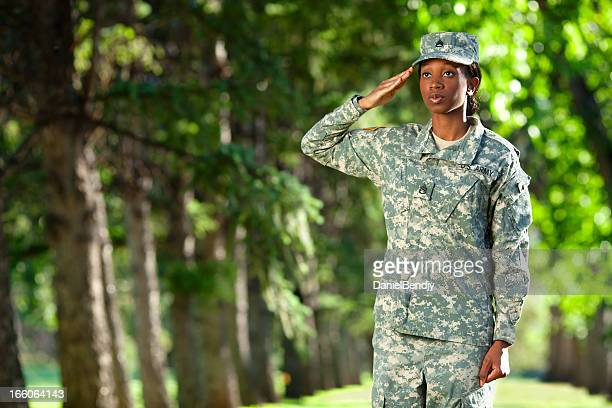 Female African American Soldier Series: Saluting Outdoor Portrait