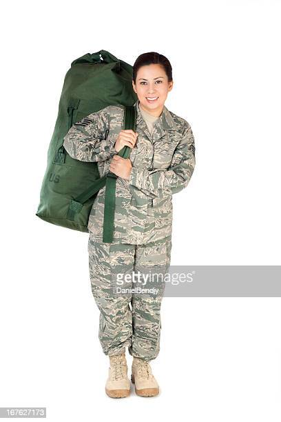 Female American Soldier in Air Force Camouflage Uniform
