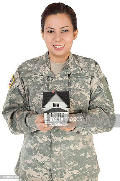 Female American Soldier in Army Camouflage Uniform