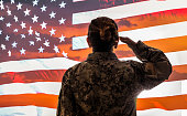 Female American Soldier Salutes US Flag