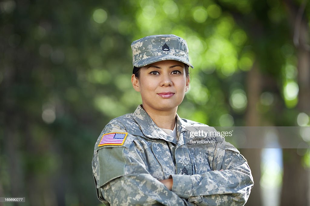 Female American Soldier Series: Outdoor Portrait : Stock Photo