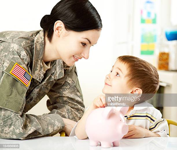Female American Soldier with Son