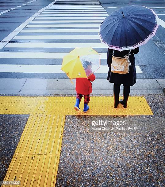 Female And Child Under Umbrellas Standing By Zebra Crossing