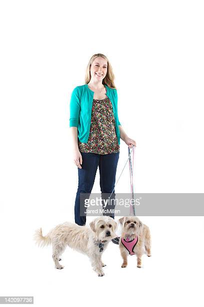 Female and her dogs photographed in the studio.