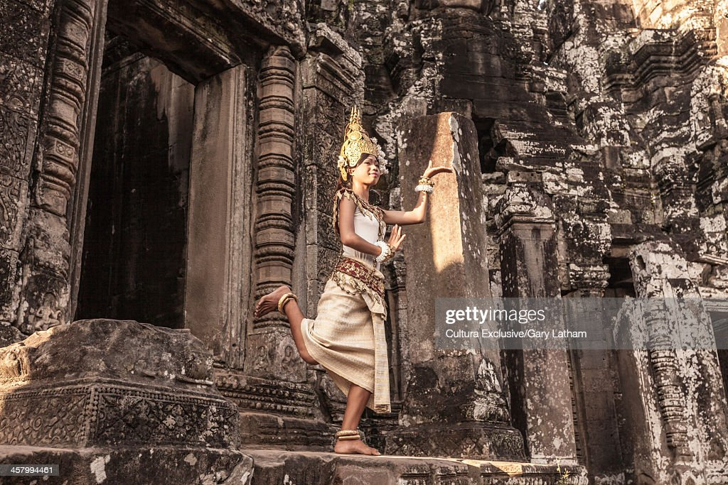 Female Apsara Dancer, standing on one leg, Bayon Temple, Angkor Thom, Cambodia