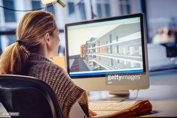 Female architect Working on Computer