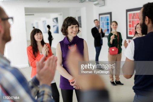 Female Artist in Art Gallery