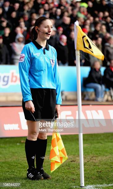 Female assistant referee Sian Massey during the Barclays Premier League match between Wolverhampton Wanderers and Liverpool at Molineux on January 22...