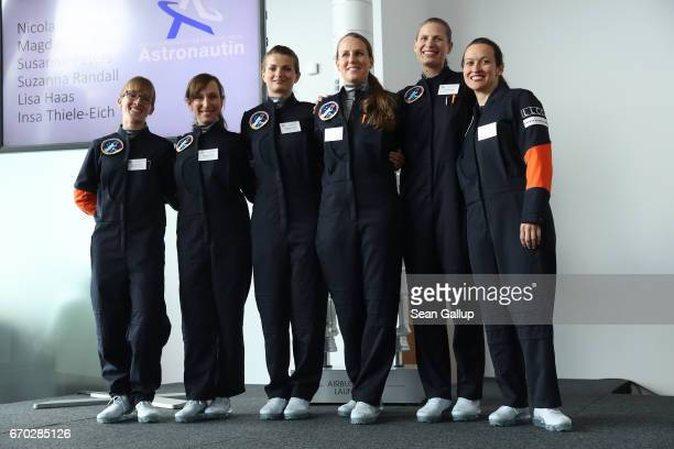 Female astronaut candidates Insa ThieleEich Suzanna Randall Magdalena Pree Susanne Peters Lisa Haas and Nicola Baumann pose for photographers shortly...