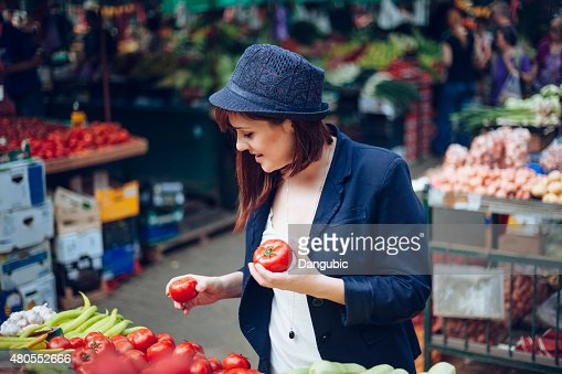 Female At Market Place : Stock Photo