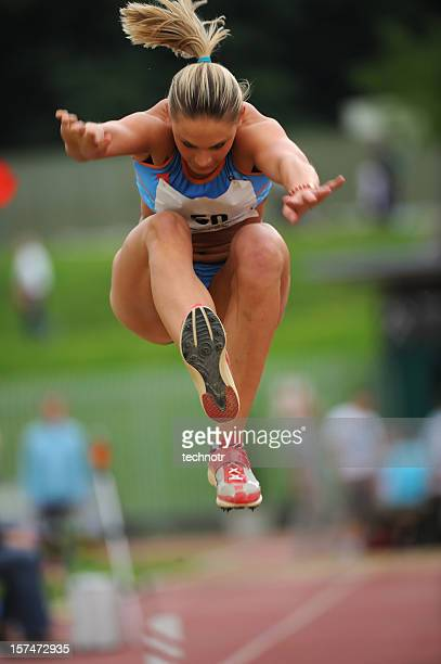 Female athlete at triple jump