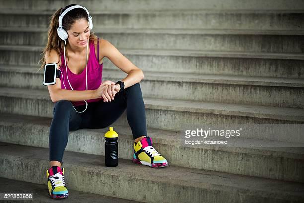 Female athlete on cardio break