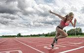 female athlete on running track
