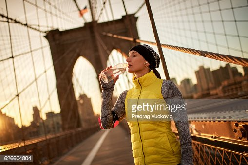 Female athlete on the bridge