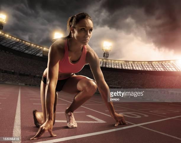 Atleta femminile preparazione alla gara