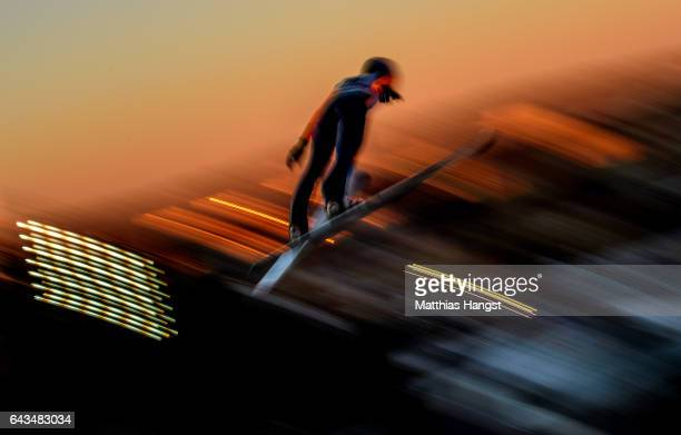 A female athlete takes part in Women's Ski Jump training ahead of the FIS Nordic World Ski Championships on February 21 2017 in Lahti Finland