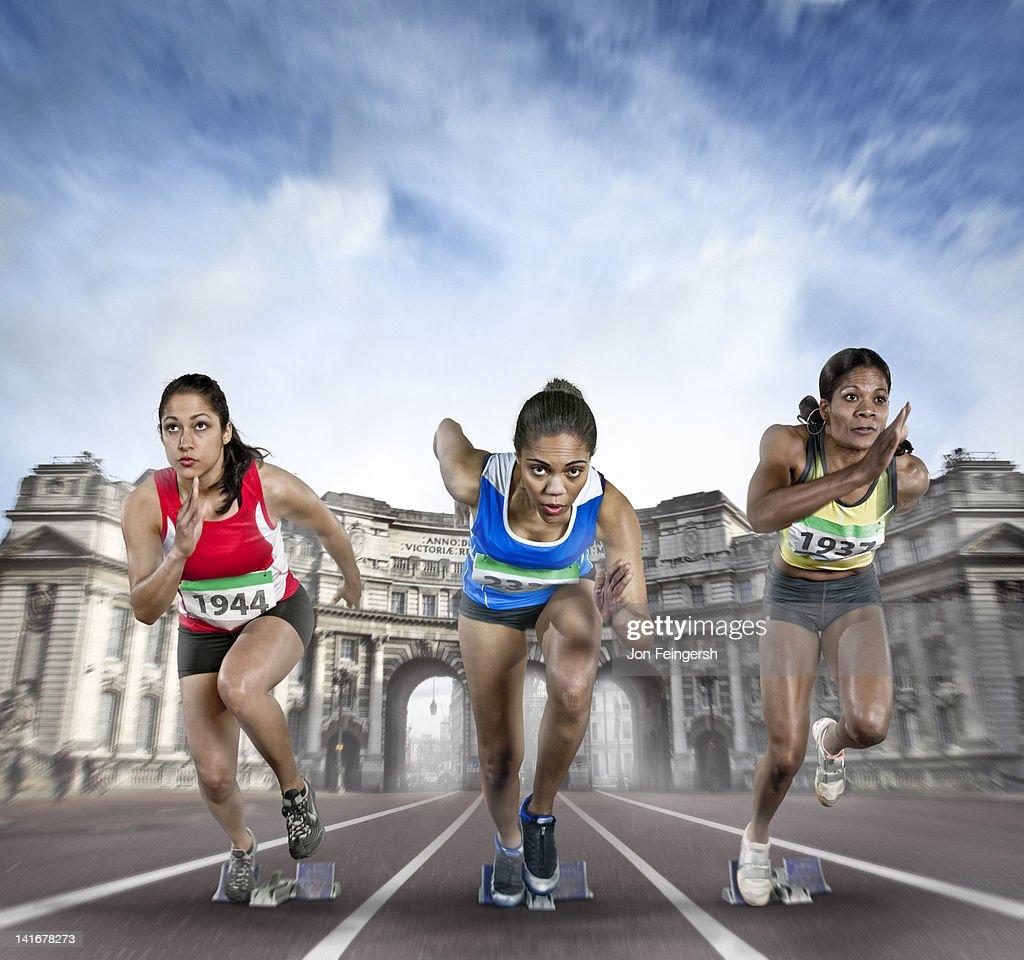 Female Athletes Sprinting : Stock Photo