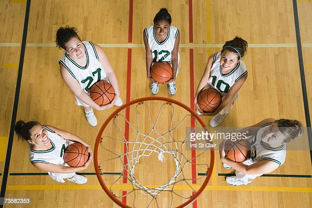 Female basketball team smiling, portrait, elevated view