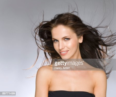 female beauty portrait hair blowing : Stock Photo