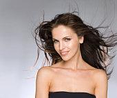 female beauty portrait hair blowing