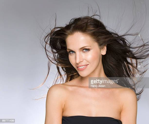 female beauty portrait hair blowing