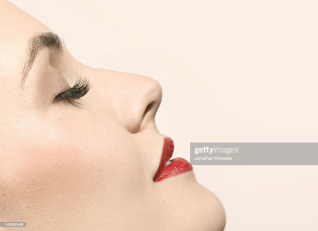 Female beauty, side view with eyes closed : Stock Photo