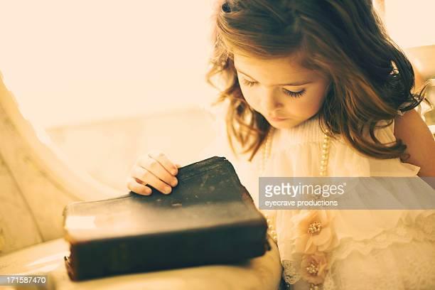 female beauty vintage Bible little girl