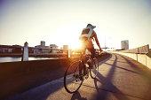 A female bike commuting.