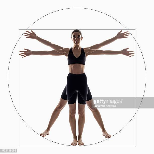 Female body composed into circle and square shape, arms outstretched