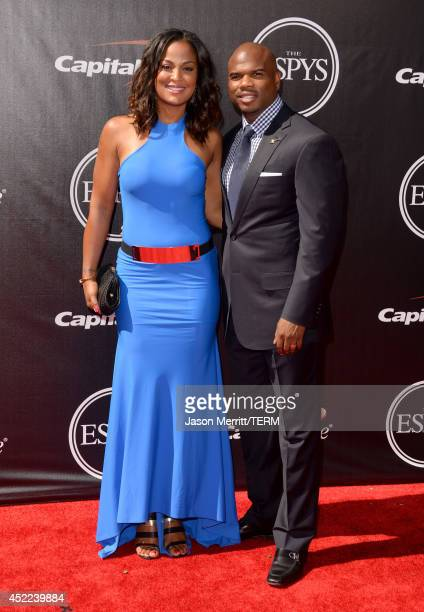 Female Boxer Laila Ali and husband former NFL player Curtis Conway attend The 2014 ESPYS at Nokia Theatre LA Live on July 16 2014 in Los Angeles...