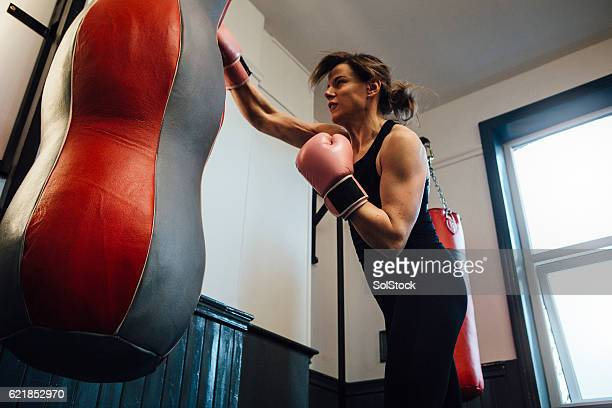 Female Boxer Training in the Gym