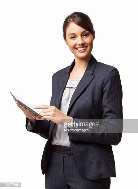 Weibliche Geschäftsreisende mit digitalen Tablet-isoliert