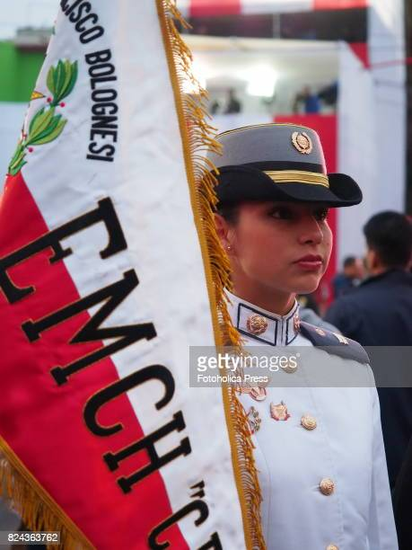 Female cadet with banner at Military parade commemorating 196th anniversary of Peruvian independence