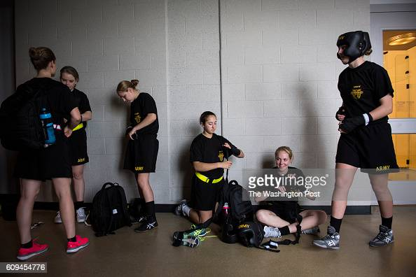 Female cadets get ready before a required coed boxing class at United States Military Academy West Point in West Point NY on Friday September 09 2016