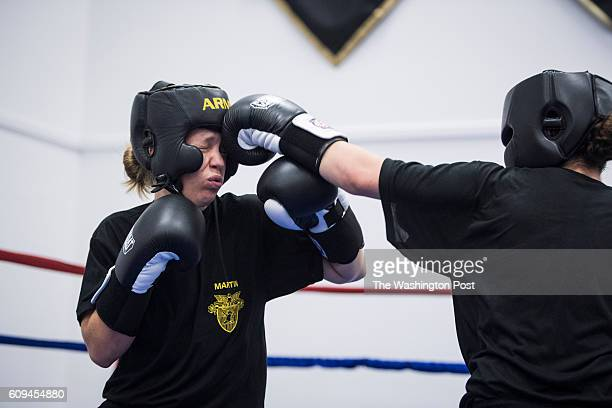 Female cadets spar during a required coed boxing class at United States Military Academy West Point in West Point NY on Friday September 09 2016