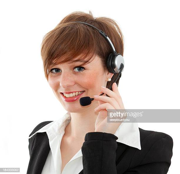 female call center agent on white