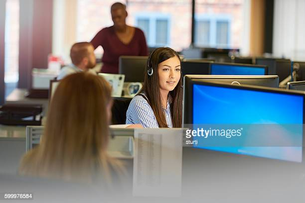 female call centre operative