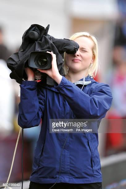 A female camera person