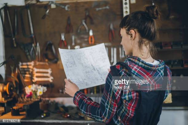 Female carpenter in workshop