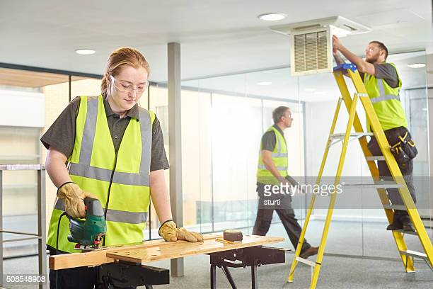 female carpenter office fitout
