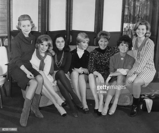 Female cast members from the upcoming television serial 'The Forsyte Saga' adapted from the novels by John Galsworthy during a photocall at...