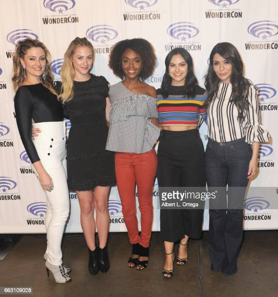 Female Cast of 'Riverdale Madchen Amick Ashleigh Murray Hayley Law Camila Mendes and Marisol Nichols attend Day 1 of WonderCon held at Anaheim...
