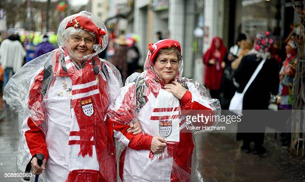 Female celebrate during a carnival parade called 'Schull un Veedelszoech' as part of the carnival season on February 7 2016 in Cologne Germany...